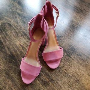 Pink faux suede heels